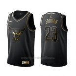 Camiseta Golden Edition Chicago Bulls Michael Jordan #23 Negro