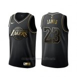 Camiseta Golden Edition Los Angeles Lakers Lebron James #23 Negro