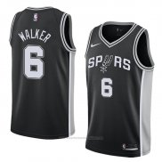 Camiseta San Antonio Spurs Lonnie Walker #6 Icon 2018 Negro