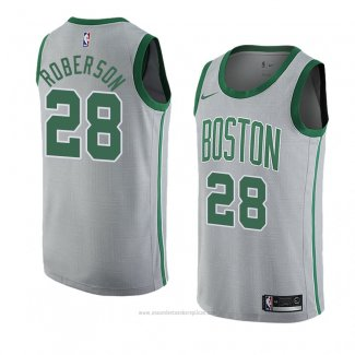 Camiseta Boston Celtics Jeff Roberson #28 Ciudad 2018-19 Gris