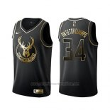 Camiseta Golden Edition Milwaukee Bucks Giannis Antetokounmpo #34 Negro