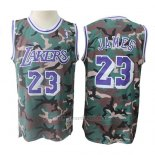 Camiseta Los Angeles Lakers Lebron James #23 Camuflaje Verde
