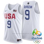 Camiseta USA 2016 DeMar DeRozan #9 Blanco