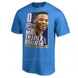 Camiseta Manga Corta Oklahoma City Thunder Russell Westbrook Azul Back to Back Triple Double Seasons