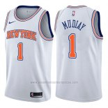 Camiseta New York Knicks Emmanuel Mudiay #1 Statement 2017-18 Blanco