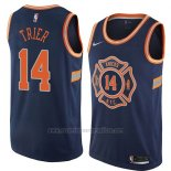Camiseta New York Knicks Allonzo Trier #14 Ciudad 2018 Azul