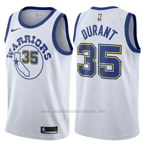 Camiseta Golden State Warriors Kevin Durant #35 Blanco 2017-18